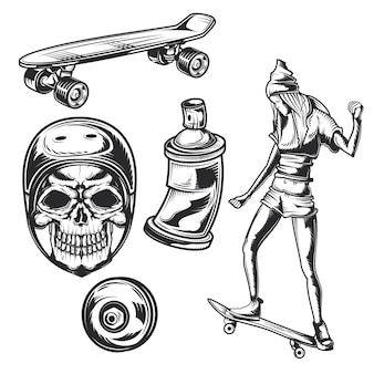 Conjunto de elementos de atividades de rua para criar seus próprios emblemas, logotipos, etiquetas, pôsteres etc.