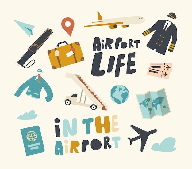 Conjunto de elementos de avião temático de aeroporto, uniforme de piloto e aeronave nas nuvens, mala, pino gps e mapa com passaporte e mapa