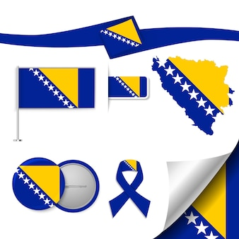 Conjunto de elementos de bandeira com a bósnia e herzegovina