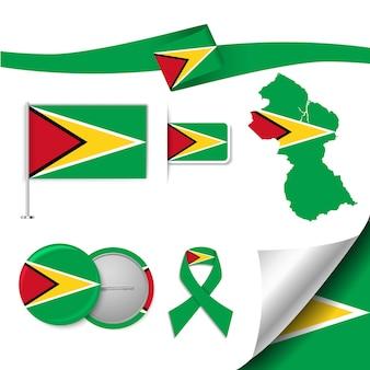 Conjunto de elementos de bandeira com a guiana