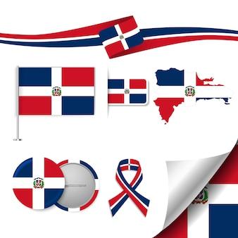 Conjunto de elementos de bandeira com a república dominicana
