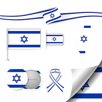 Conjunto de elementos de bandeira com israel
