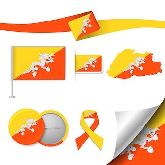 Conjunto de elementos de bandeira com o butão