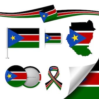 Conjunto de elementos de bandeira com o sudão do sul