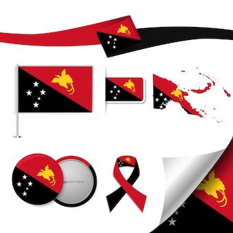 Conjunto de elementos de bandeira com papua nova guiné