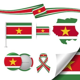 Conjunto de elementos de bandeira com suriname