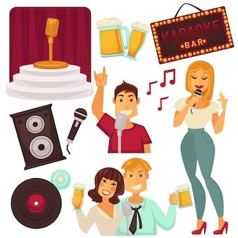 Conjunto de elementos de bar de karaoke com pessoas cantando.