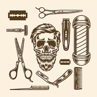 Conjunto de elementos de barbearia
