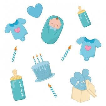 Conjunto de elementos de bebê em azul