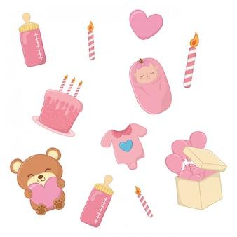 Conjunto de elementos de bebê em rosa