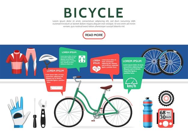 Conjunto de elementos de bicicleta plana
