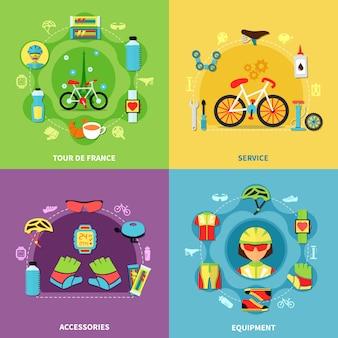 Conjunto de elementos de bicicleta