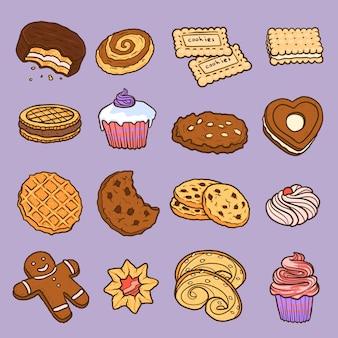 Conjunto de elementos de biscoito, estilo mão desenhada