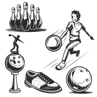 Conjunto de elementos de boliche para criar seus próprios emblemas, logotipos, etiquetas, pôsteres etc.