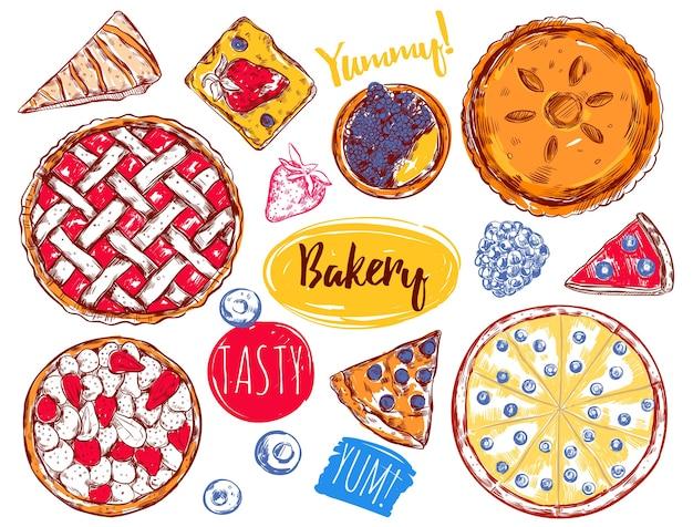 Conjunto de elementos de bolo de fatia de torta desenhada à mão