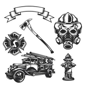 Conjunto de elementos de bombeiro (machado, carro, fita, bombeiro, emblema, caminhão de bombeiros, hidrante)