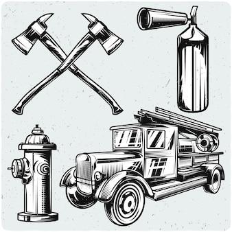 Conjunto de elementos de bombeiro