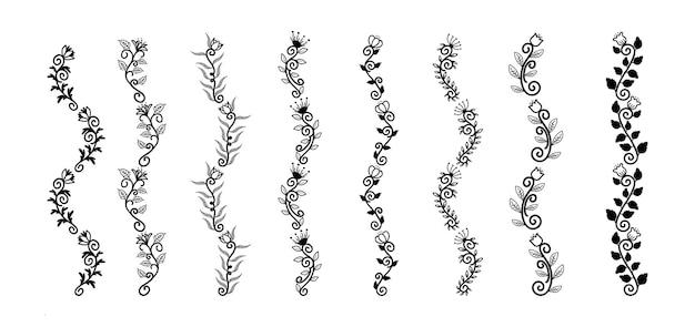 Conjunto de elementos de bordas desenhadas à mão coleção floral swirl ornament vector
