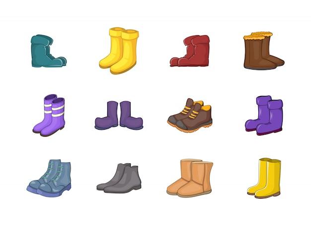 Conjunto de elementos de botas. conjunto de desenhos animados de elementos do vetor de botas
