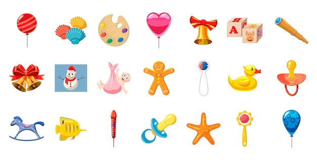 Conjunto de elementos de brinquedos de criança. conjunto de desenhos animados de brinquedos de criança