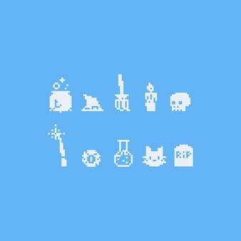Conjunto de elementos de bruxa de pixel art