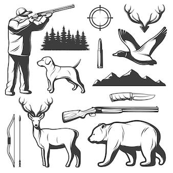 Conjunto de elementos de caça vintage