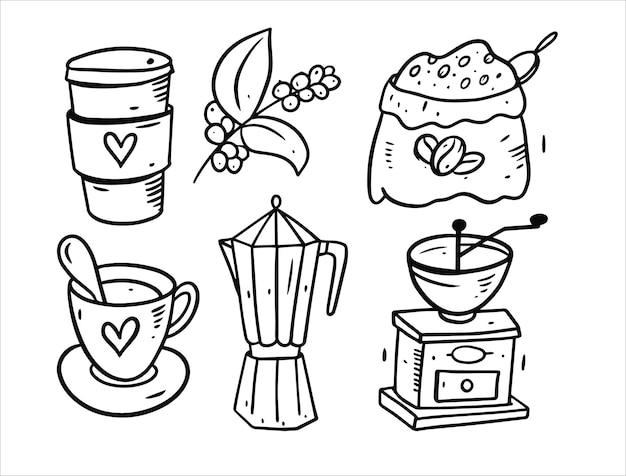 Conjunto de elementos de café isolado no branco