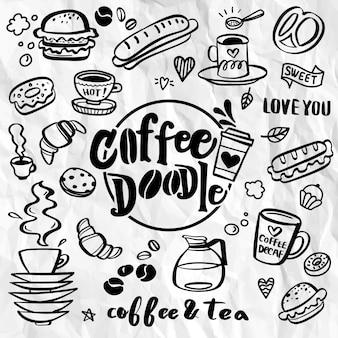 Conjunto de elementos de cafeteria doodle bonito