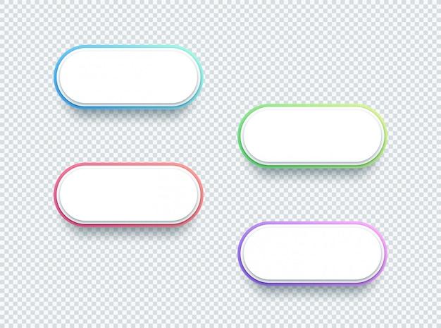 Conjunto de elementos de caixa de texto branco de forma 3d vetor de quatro