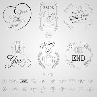 Conjunto de elementos de caligrafia
