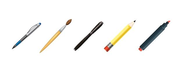 Conjunto de elementos de canetas. caricatura, jogo, de, canetas