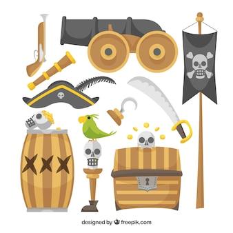 Conjunto de elementos de canhão e pirata
