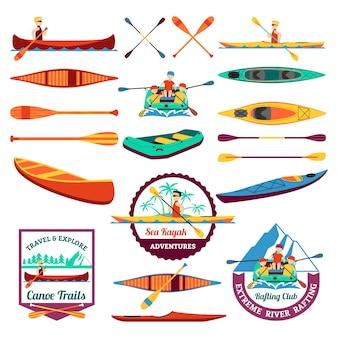 Conjunto de elementos de canoagem e caiaque rafting