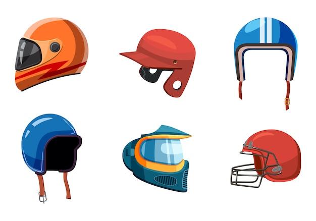 Conjunto de elementos de capacete de esporte. caricatura, jogo, de, capacete esporte