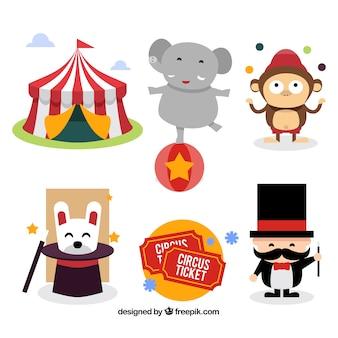 Conjunto de elementos de carnaval e circo