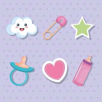 Conjunto de elementos de cartão de chuveiro de bebê