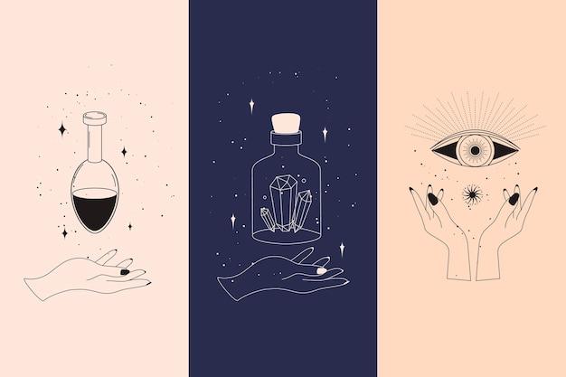 Conjunto de elementos de cartas de tarô místicas de alquímicos ocultistas esotéricos e símbolos de bruxas