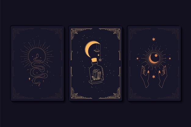Conjunto de elementos de cartas de tarô místicas de alquímicos ocultistas esotéricos e símbolos de bruxas Vetor Premium
