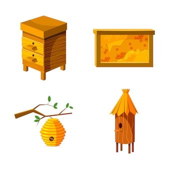 Conjunto de elementos de casa de abelha. caricatura, jogo, de, casa abelha