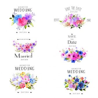 Conjunto de elementos de casamento com flores de aguarela.
