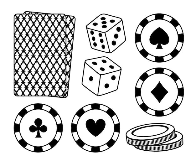 Conjunto de elementos de cassino vector design gráfico ilustração