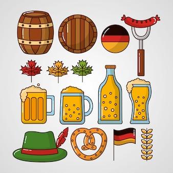 Conjunto de elementos de celebração de oktoberfest alemanha