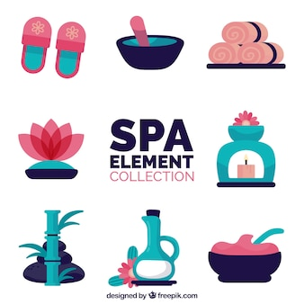 Conjunto de elementos de centro de spa com velas e óleos aromáticos