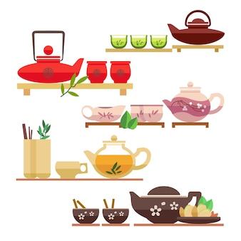 Conjunto de elementos de cerimônia do chá chinês