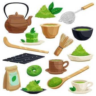 Conjunto de elementos de cerimônia do chá japonês