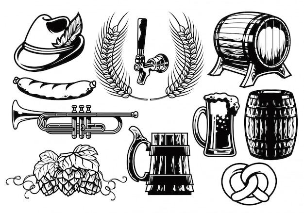 Conjunto de elementos de cerveja preto e branco