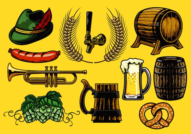 Conjunto de elementos de cerveja