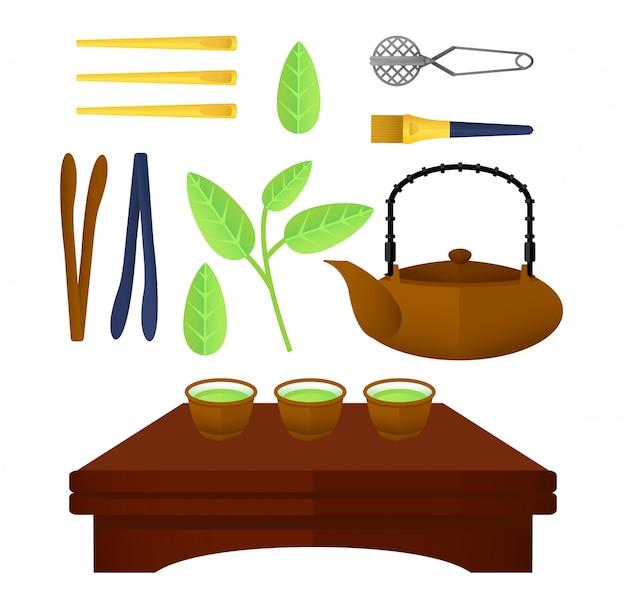 Conjunto de elementos de chá chinês plano