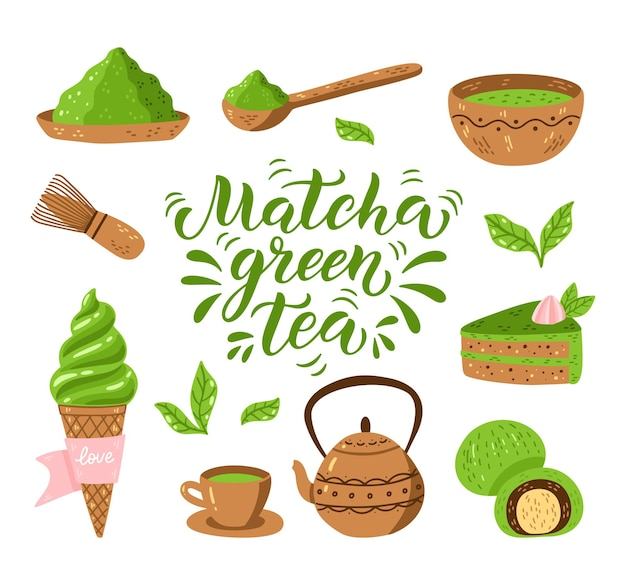 Conjunto de elementos de chá matcha
