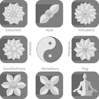 Conjunto de elementos de chacra de ioga